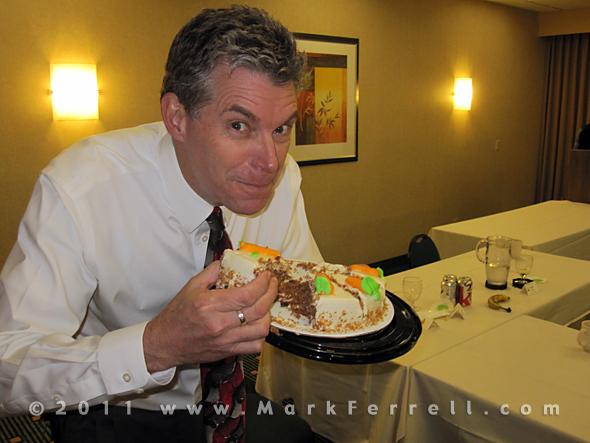 Mark Ferrell eats wedding cake