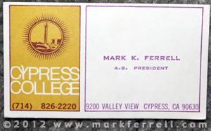 Mark K Ferrell Associated Student President