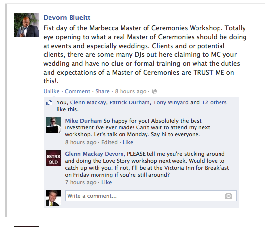 Devorn Blueitt Endorses MarBecca Workshops
